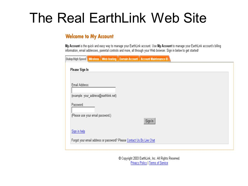 The Real EarthLink Web Site