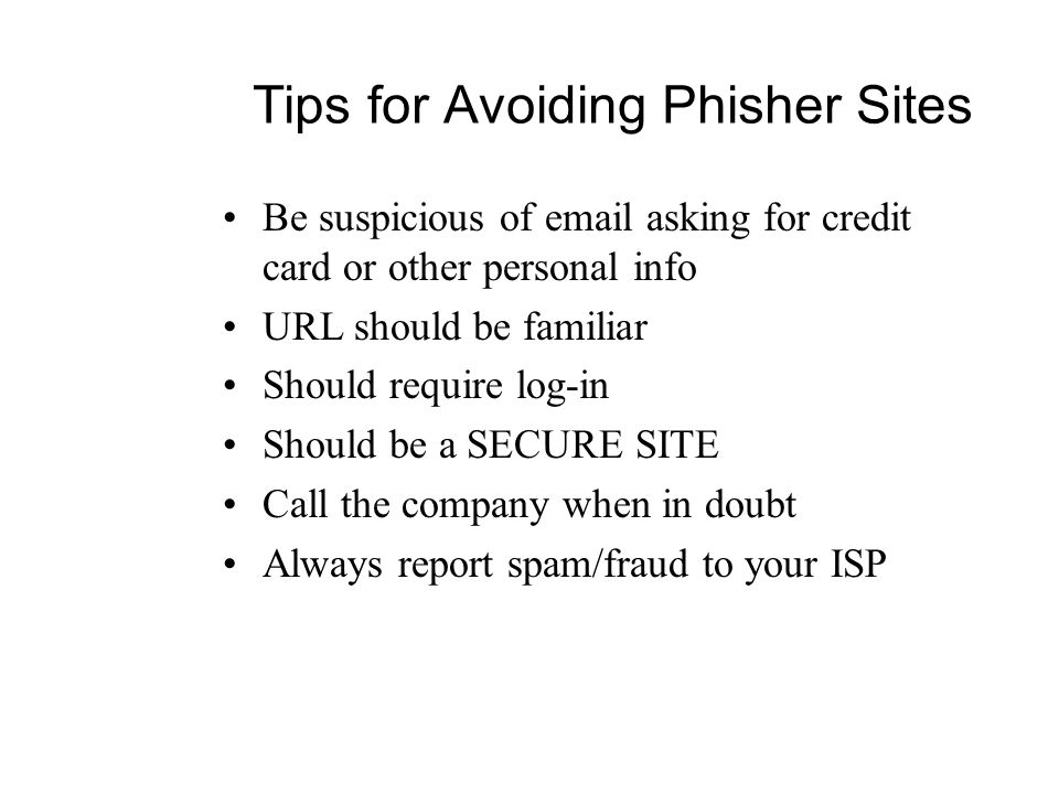 Tips for Avoiding Phisher Sites