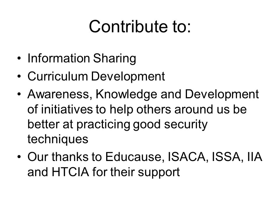 Contribute to: Information Sharing Curriculum Development