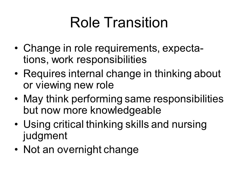 nursing role transition reflection Professional role transition for new nurses reflections for supporters: what role does the mentor play in facilitating an honest and open critique of the.