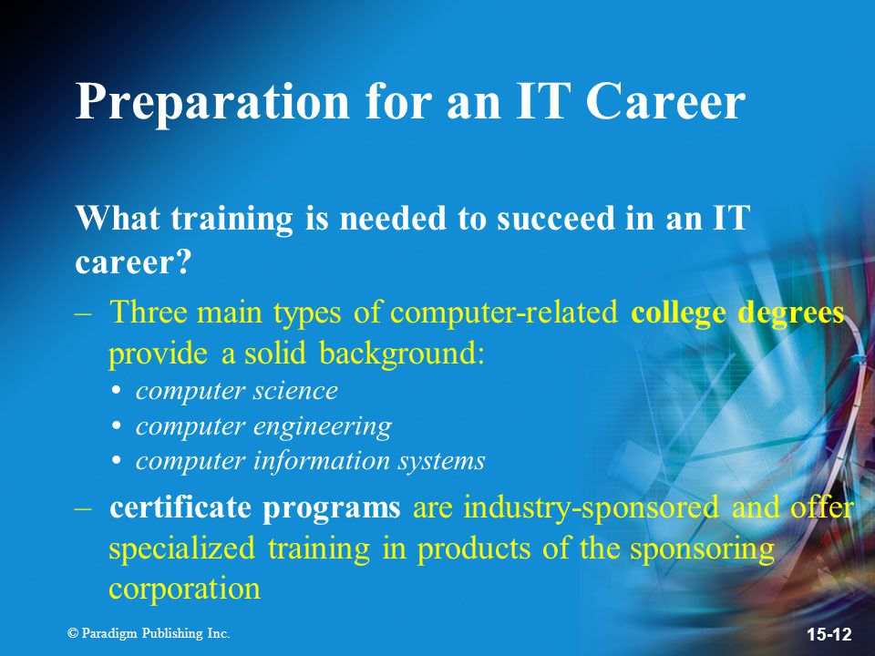 Chapter 15 Information Technology Careers Ppt Video