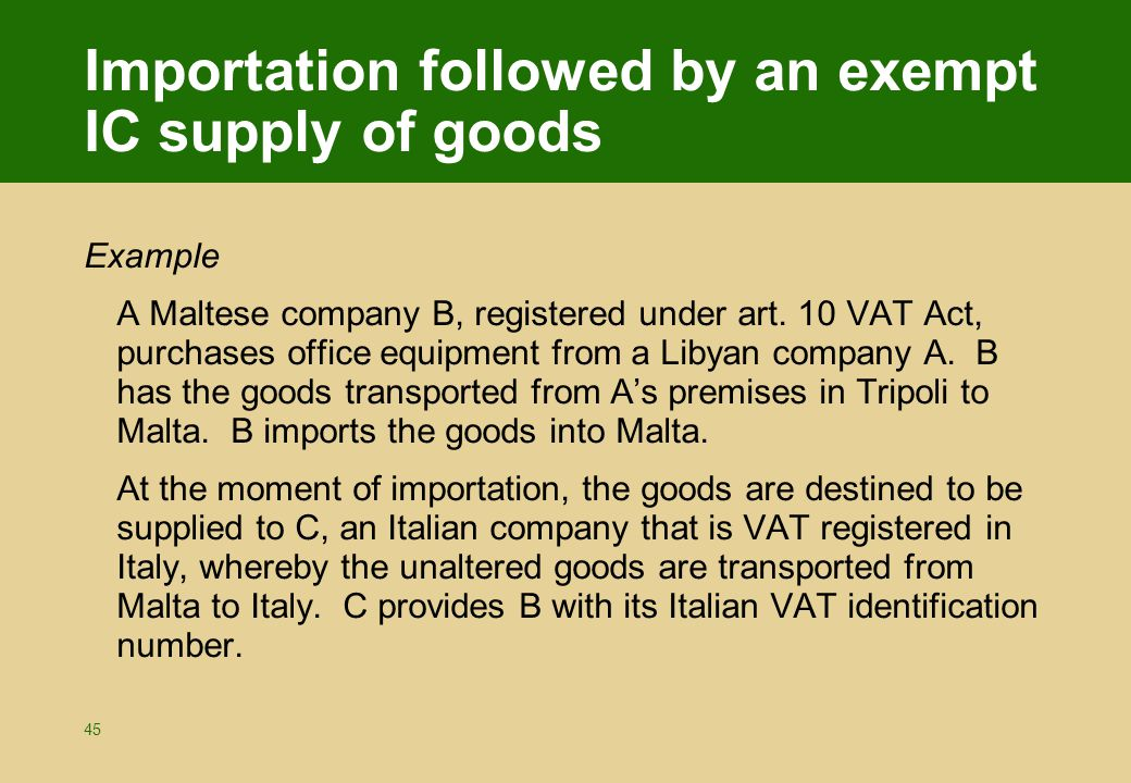 imports exempt example