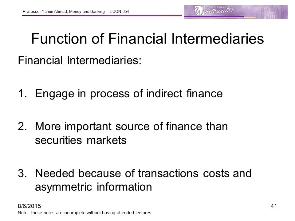Functions and Examples of Financial Intermediaries