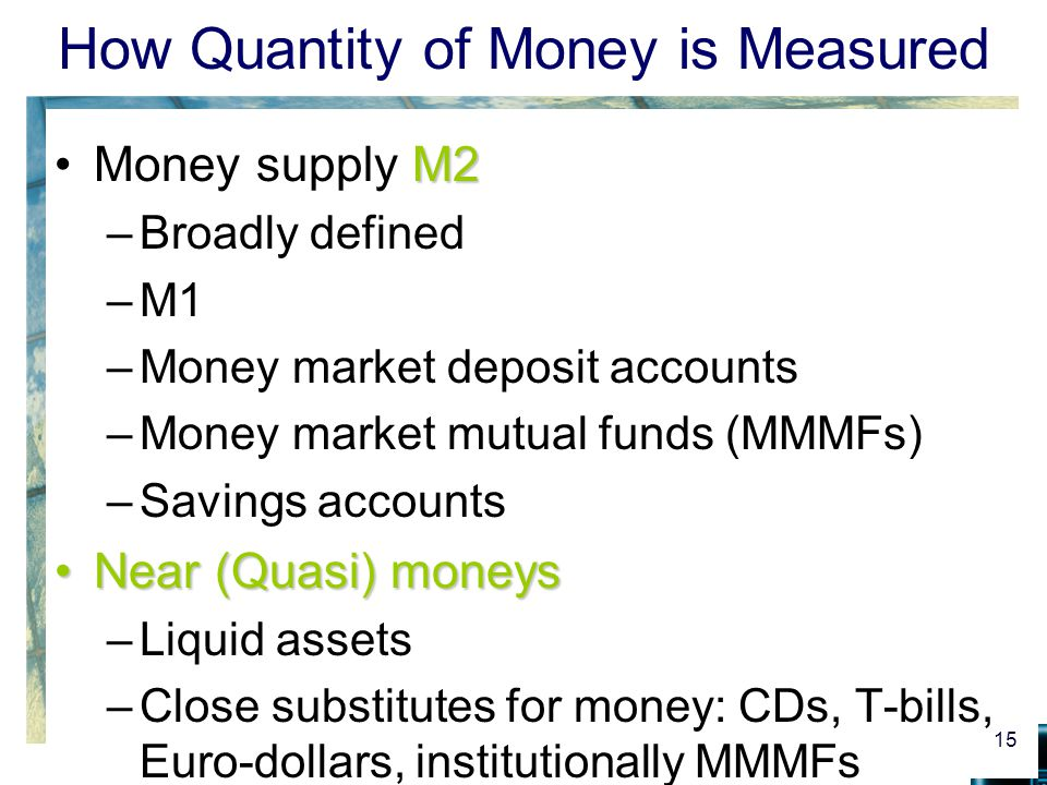 how the quantity of money is Asset demand (da) is money kept as a store of value for later use  the supply  of money is a vertical line, suggesting the quantity of money is fixed at a level.