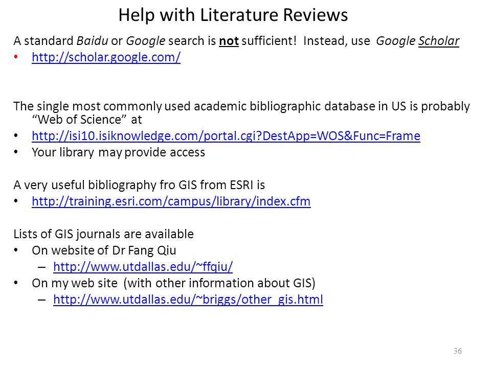 Help with my literature review