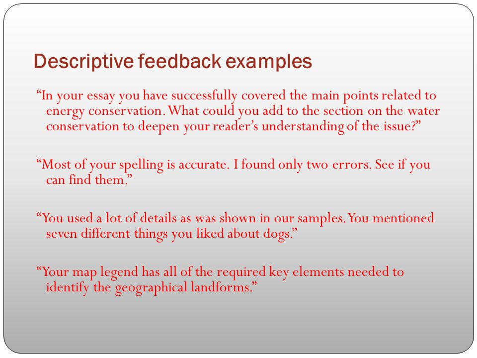online essay feedback How to write a feedback essay the first step in writing a feedback essay is to be familiar with the thing that is being evaluated if it is a performance or an.