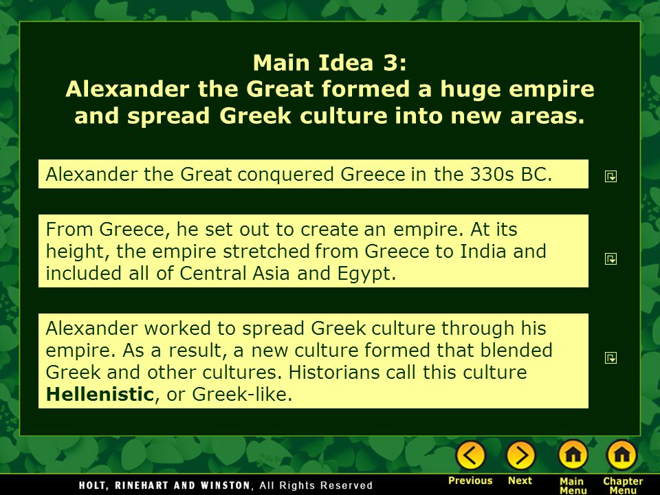 Main Idea 3: Alexander the Great formed a huge empire and spread Greek culture into new areas.