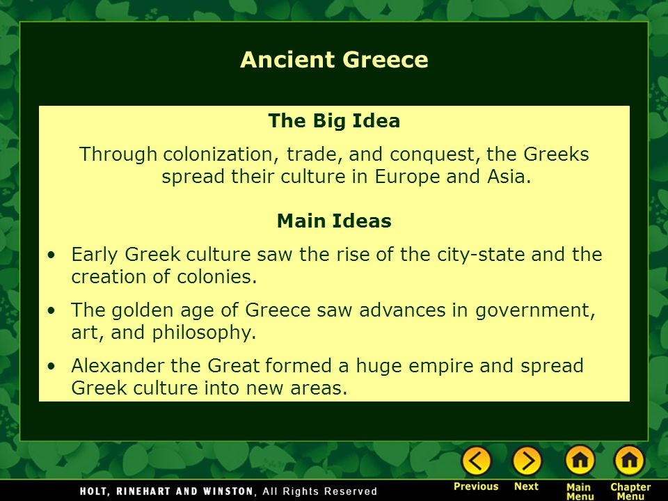 Ancient Greece The Big Idea