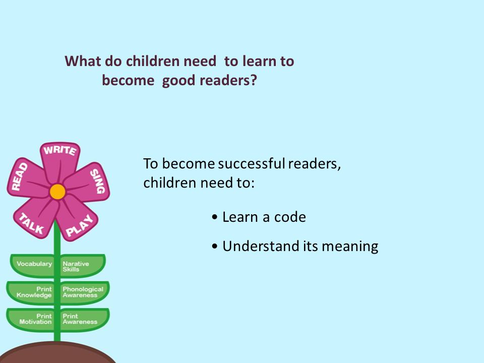 What do children need to learn to become good readers