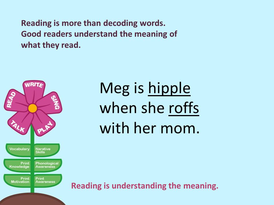 Reading is understanding the meaning.