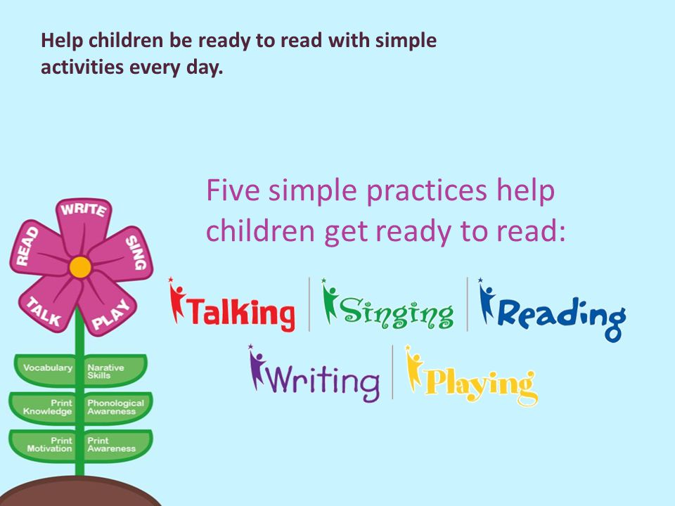 Five simple practices help children get ready to read: