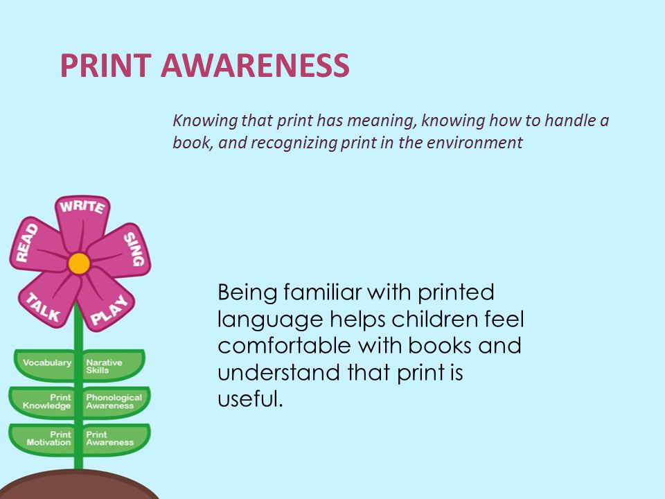 Print Awareness Knowing that print has meaning, knowing how to handle a book, and recognizing print in the environment.