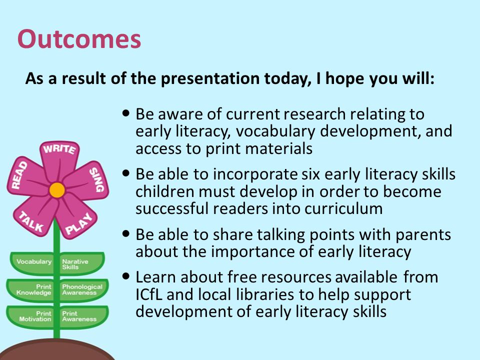 Outcomes As a result of the presentation today, I hope you will: