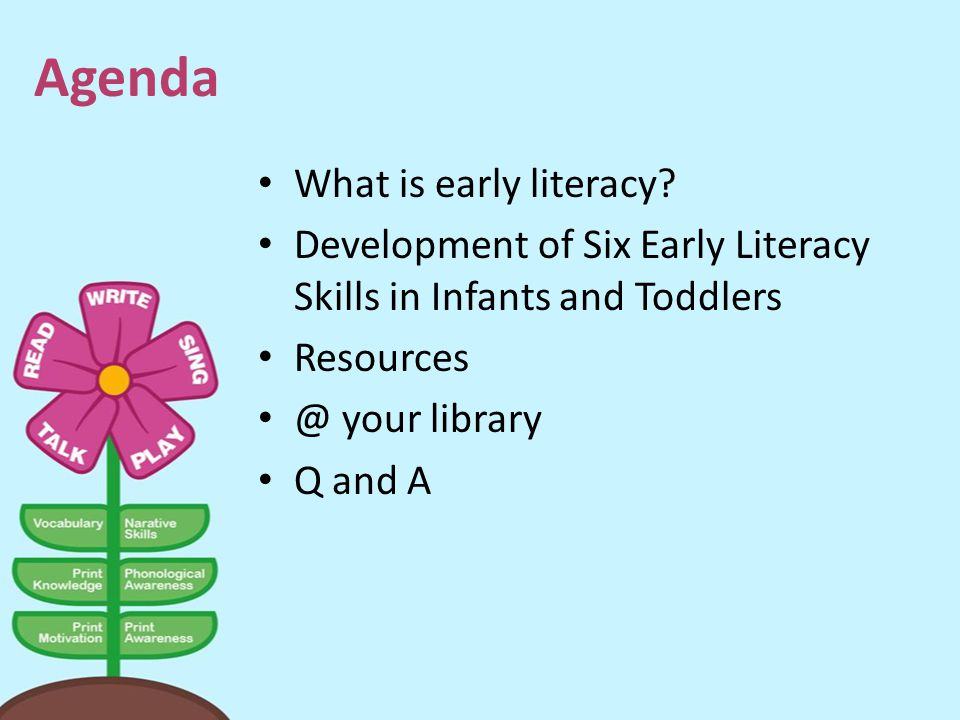 Agenda What is early literacy