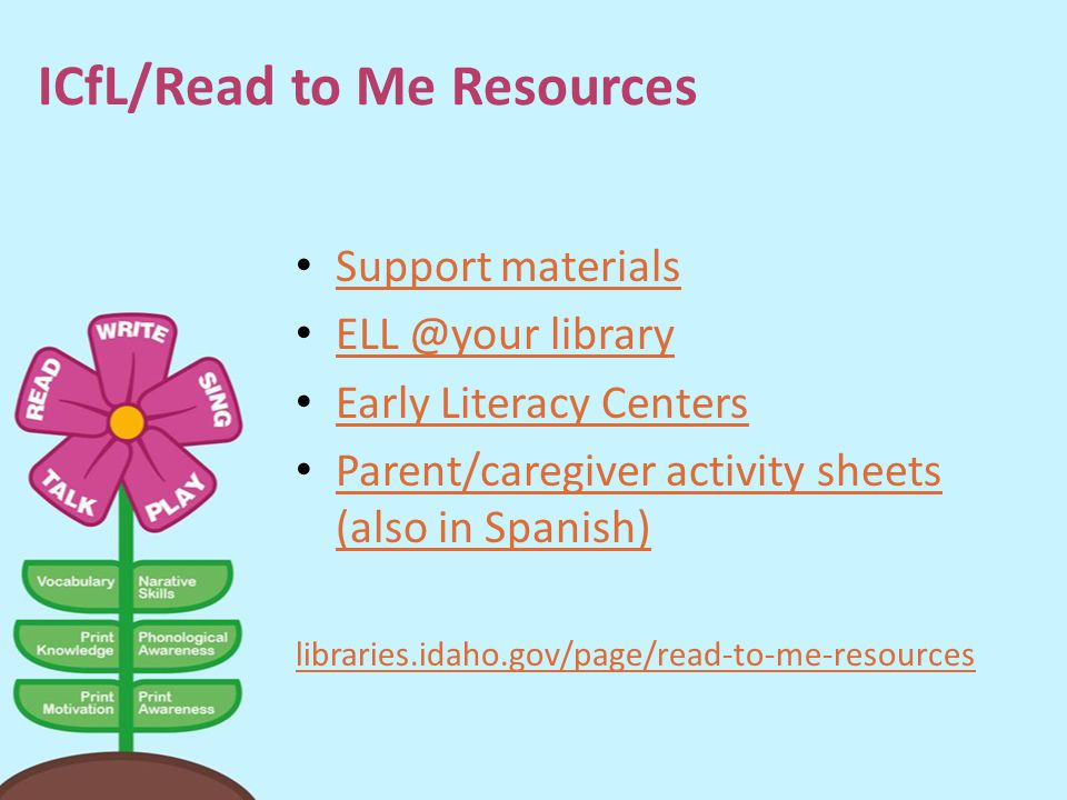 ICfL/Read to Me Resources