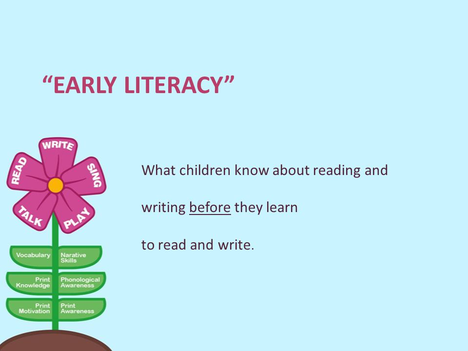 Early Literacy What children know about reading and writing before they learn to read and write.