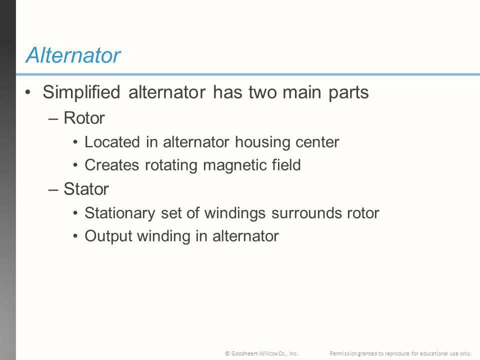 Alternator Simplified alternator has two main parts Rotor Stator