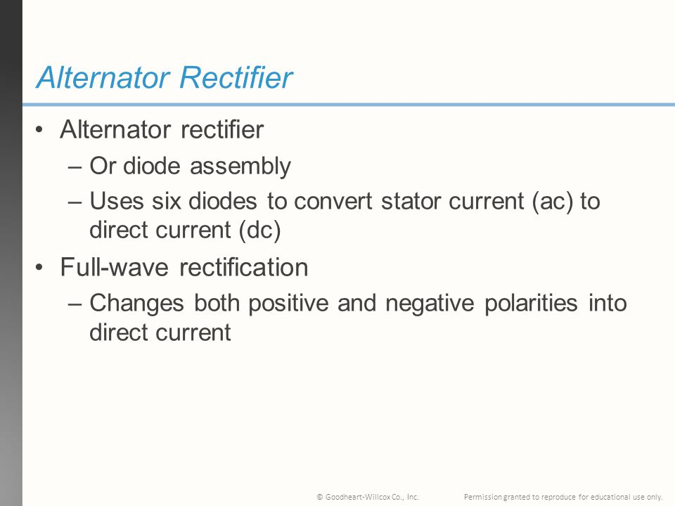 Alternator Rectifier Alternator rectifier Full-wave rectification
