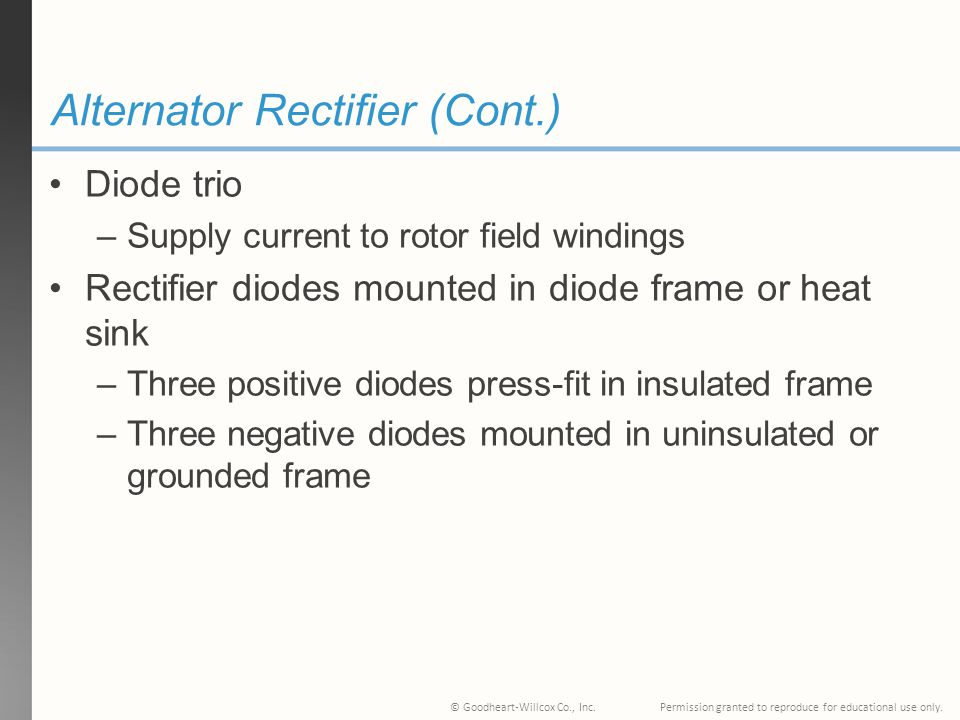 Alternator Rectifier (Cont.)