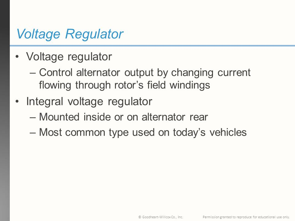 Voltage Regulator Voltage regulator Integral voltage regulator