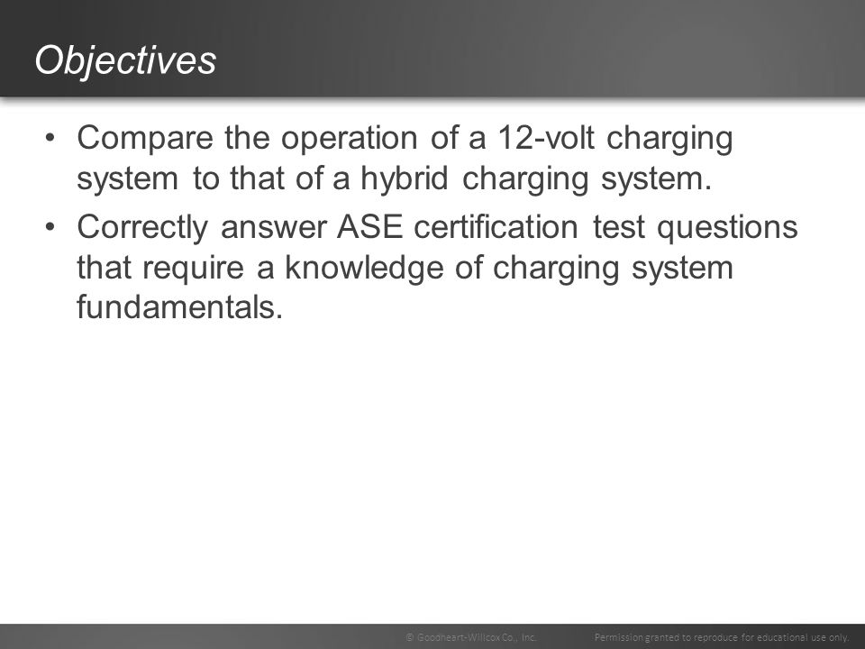 Objectives Compare the operation of a 12-volt charging system to that of a hybrid charging system.