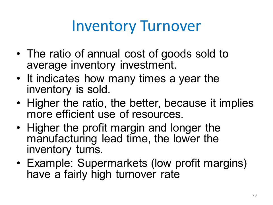 two common measures to evaluate supply chain efficiency are the inventory turnover and weeks of supp Start studying chapter 13 two common measures to evaluate supply-chain efficiency are inventory turnover and weeks of supply.