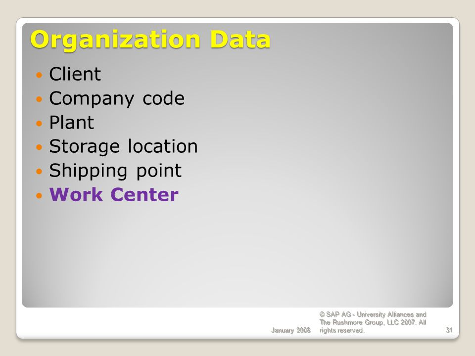 Organization Data Client Company code Plant Storage location
