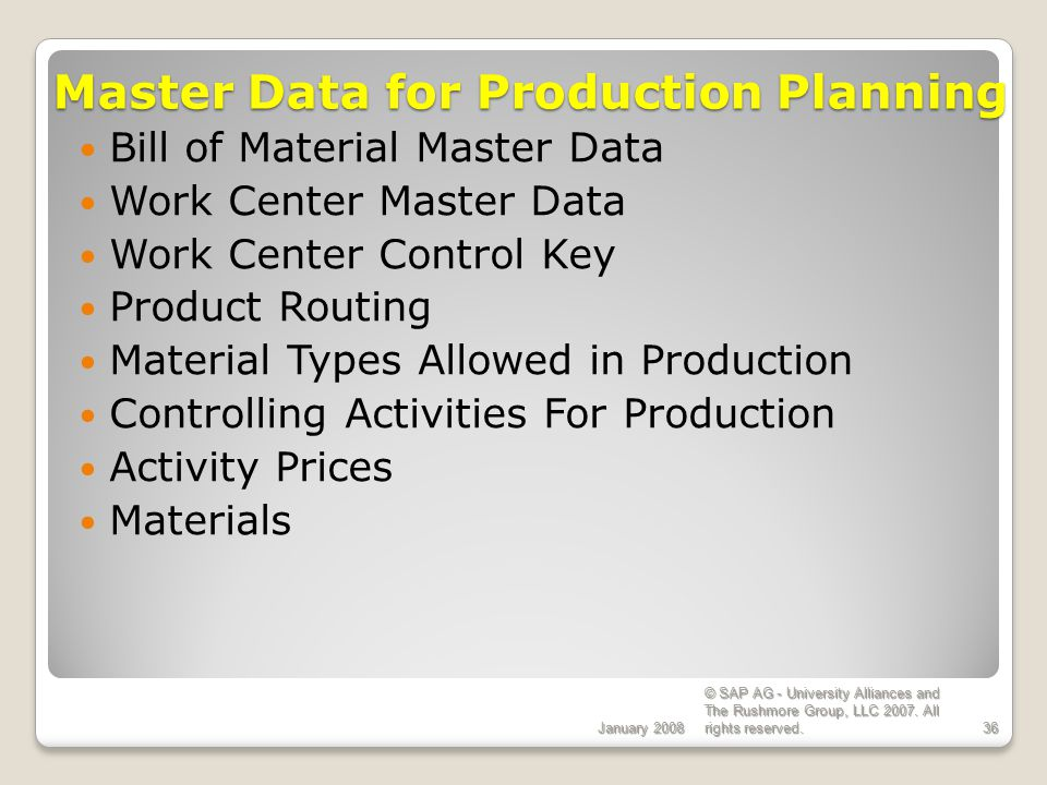 Master Data for Production Planning