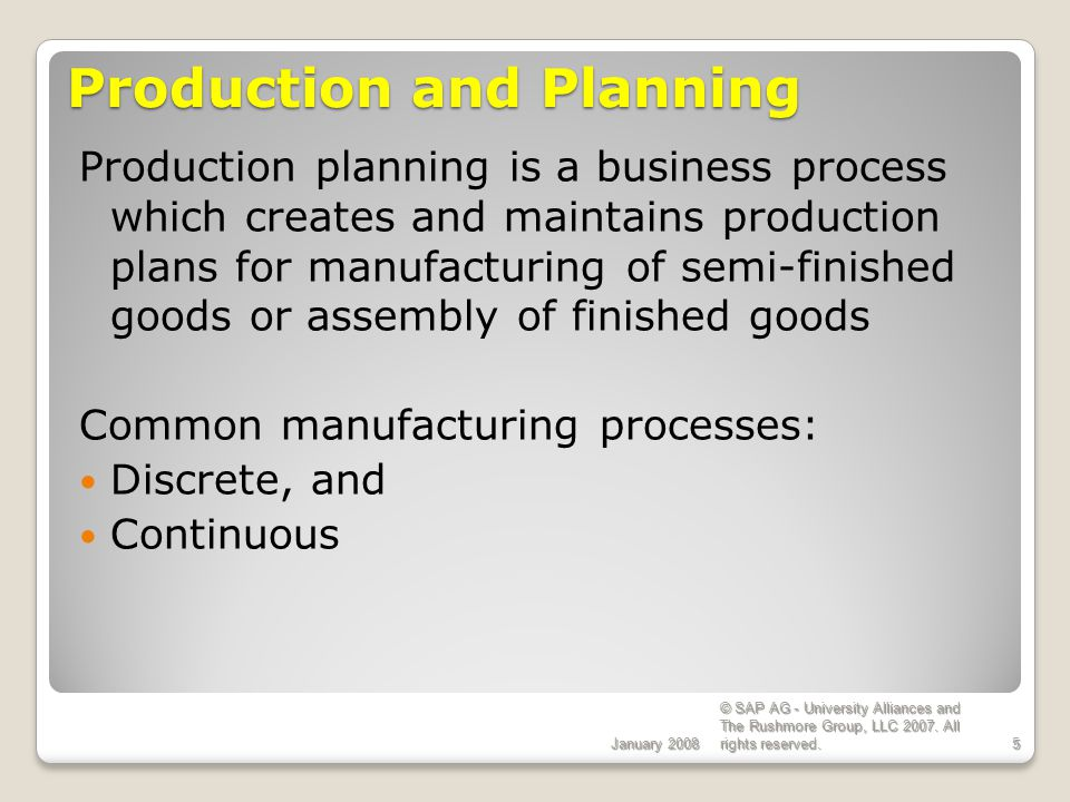 Production and Planning