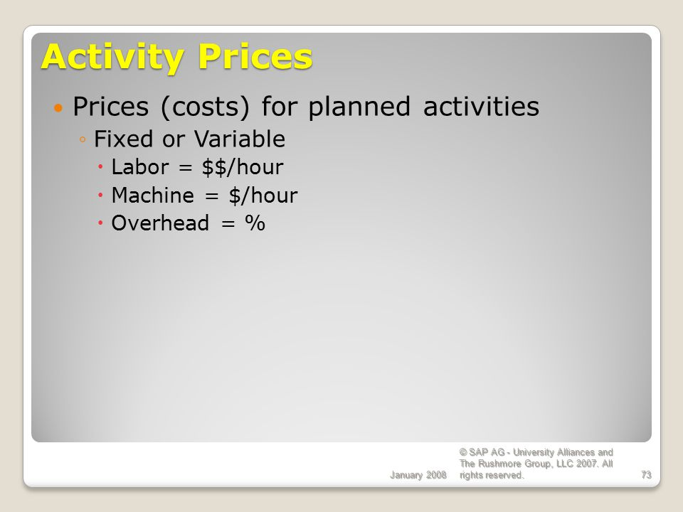 Activity Prices Prices (costs) for planned activities