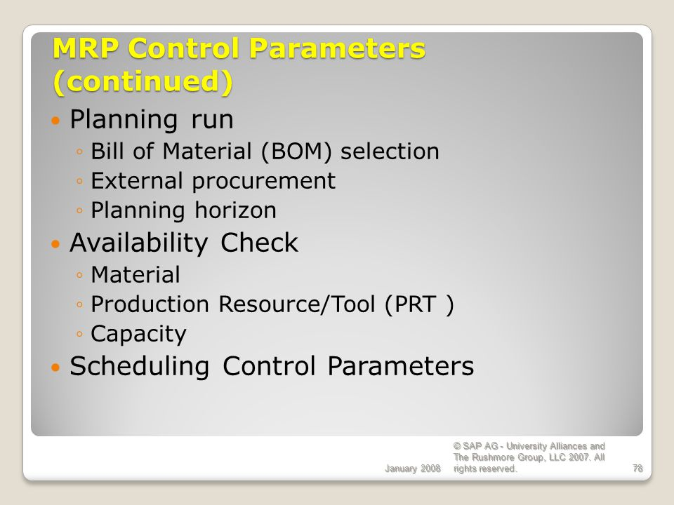 MRP Control Parameters (continued)