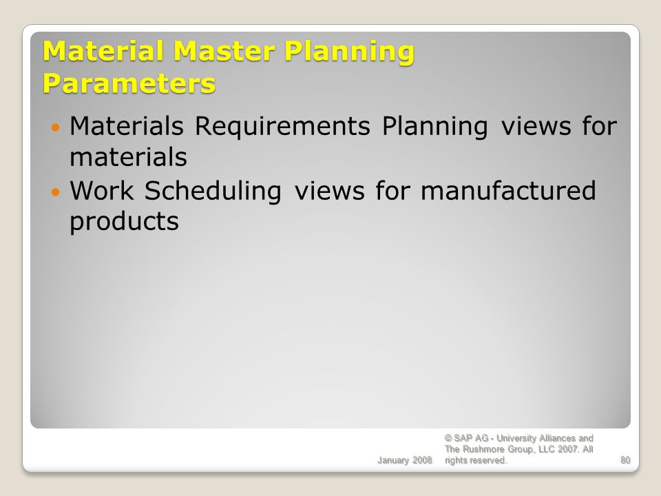Material Master Planning Parameters