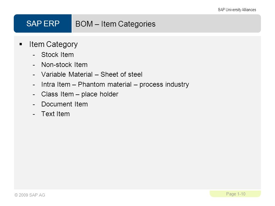 BOM – Item Categories Item Category Stock Item Non-stock Item