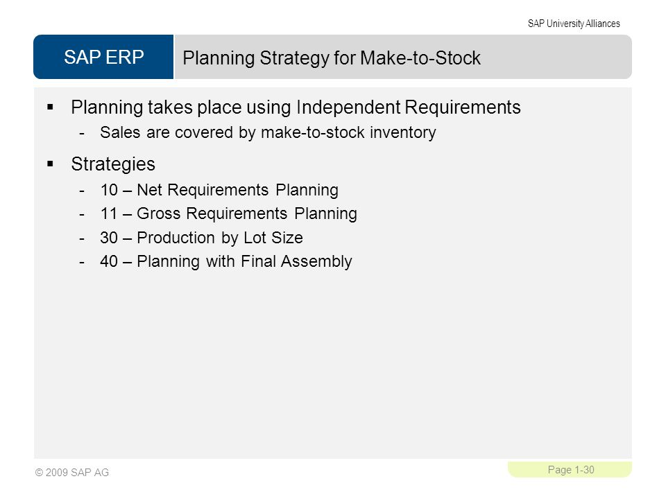Planning Strategy for Make-to-Stock