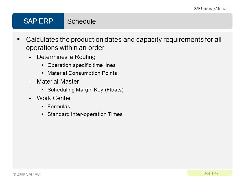 Schedule Calculates the production dates and capacity requirements for all operations within an order.