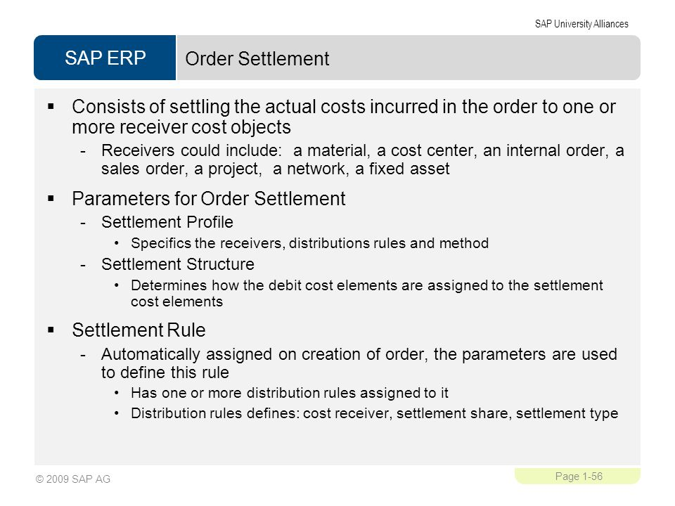 Parameters for Order Settlement
