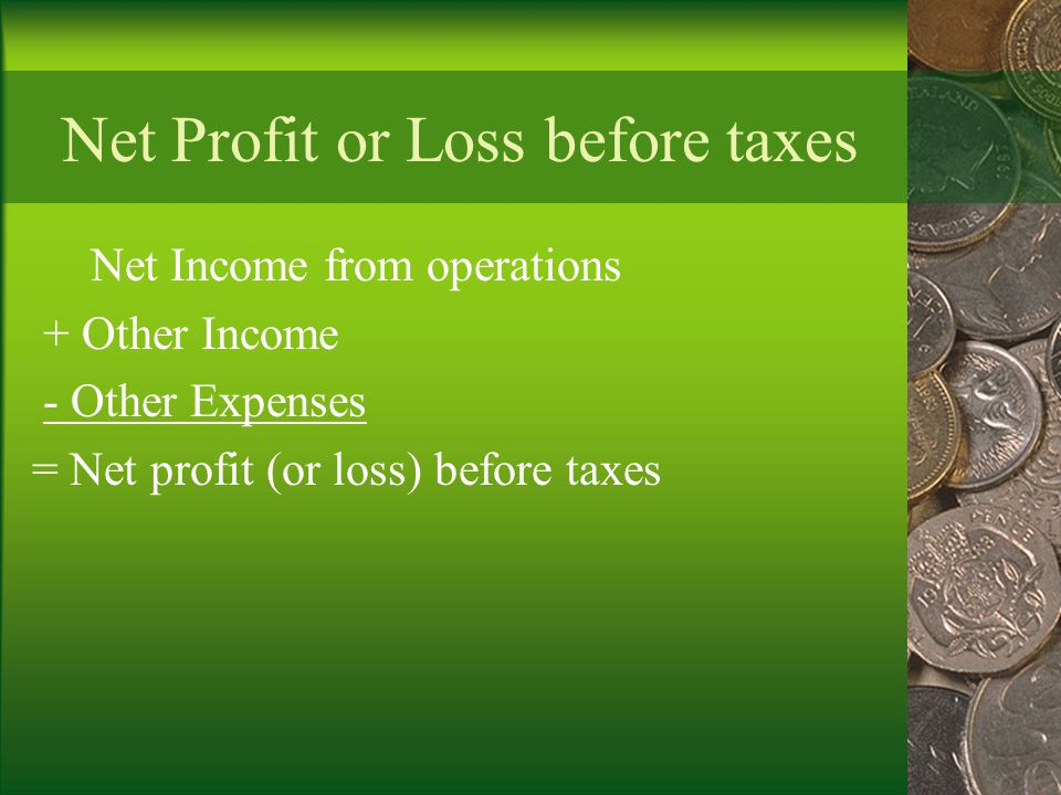 Net Profit or Loss before taxes