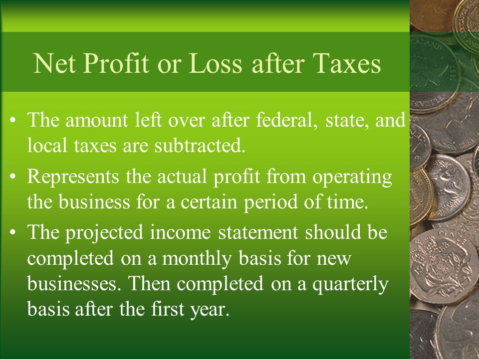 Net Profit or Loss after Taxes
