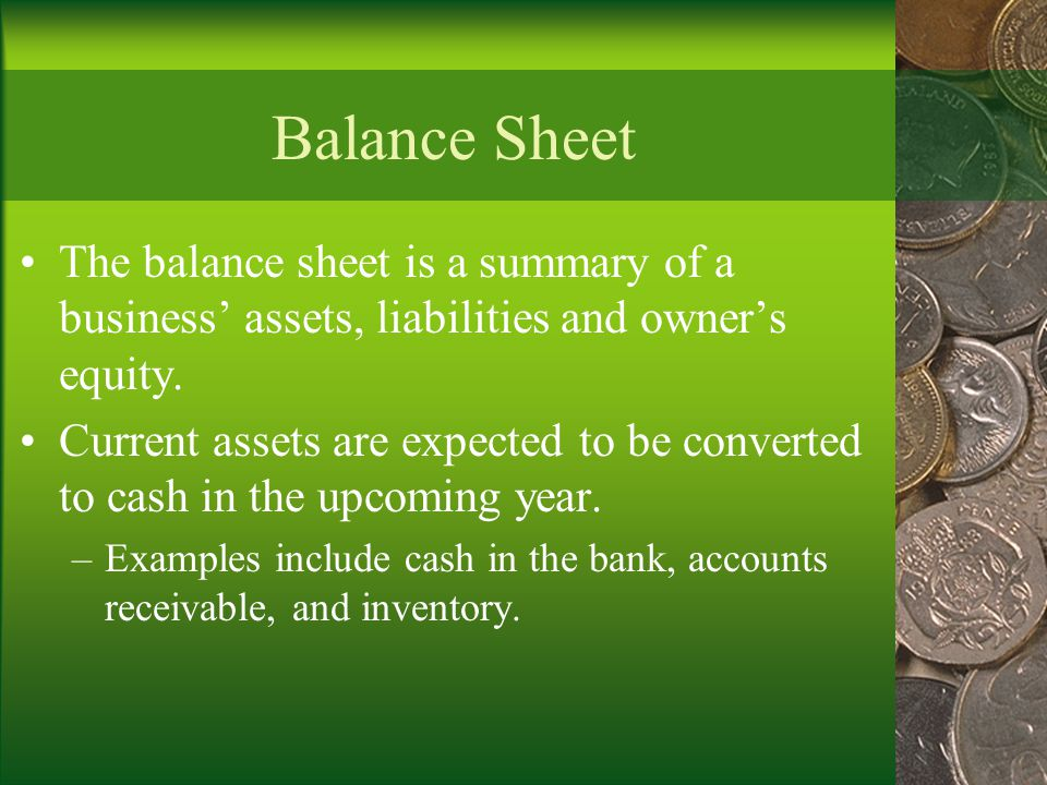 Balance Sheet The balance sheet is a summary of a business' assets, liabilities and owner's equity.