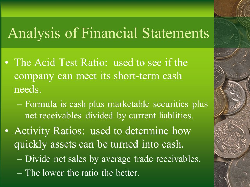 Analysis of Financial Statements