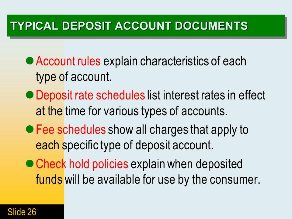 4 Deposits In Banks 4 1 Deposit Accounts 4 2 Interest