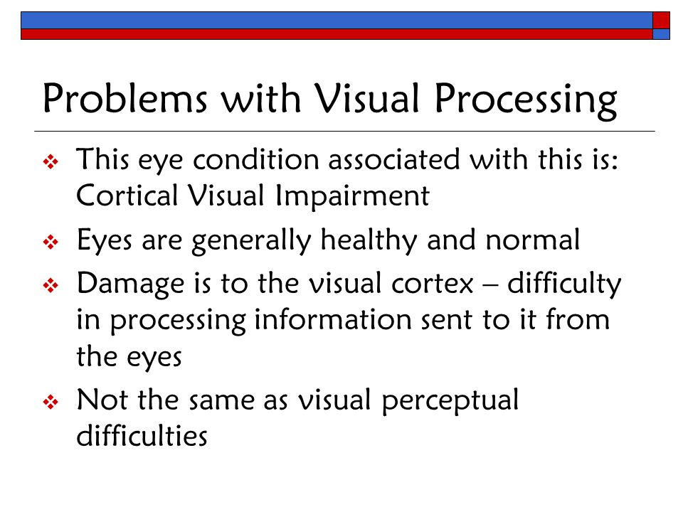 Teaching students who are blind or visually impaired in for Visual motor processing disorder