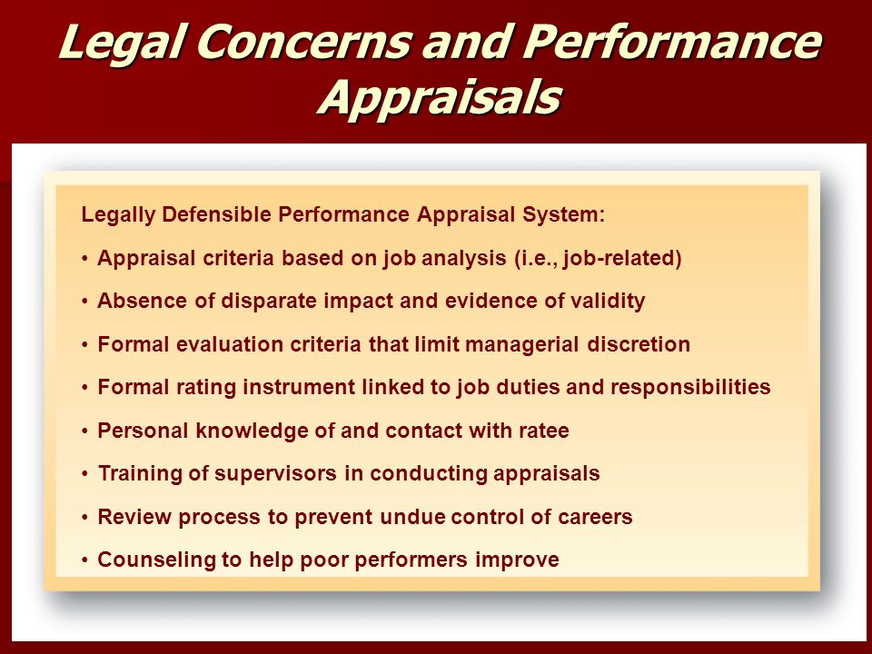 Legal Concerns and Performance Appraisals