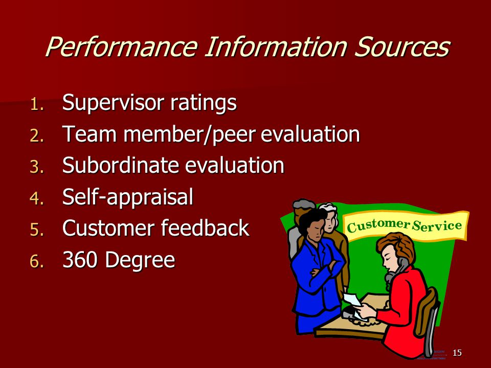 Performance Information Sources