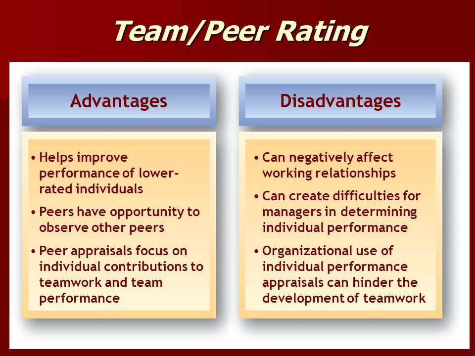 Team/Peer Rating Advantages Disadvantages