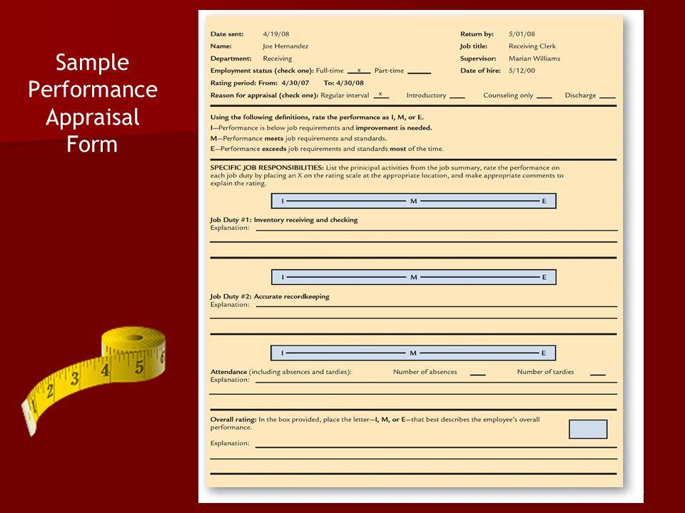 Sample Performance Appraisal Form