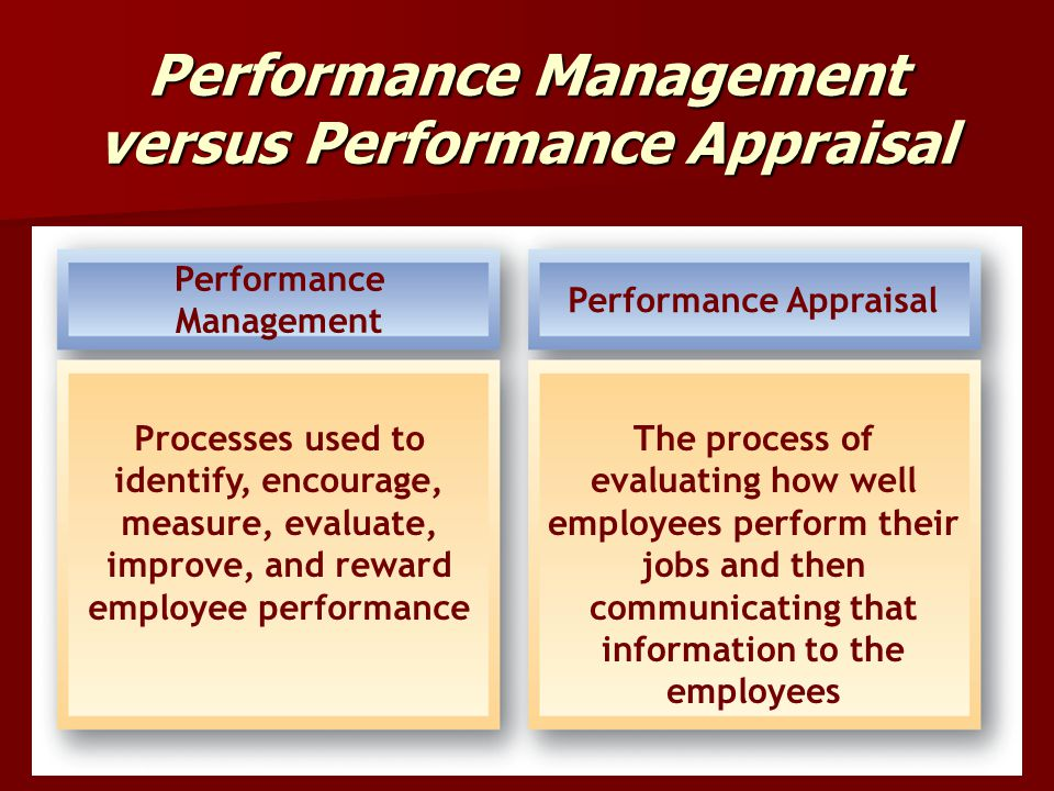 Performance Management versus Performance Appraisal