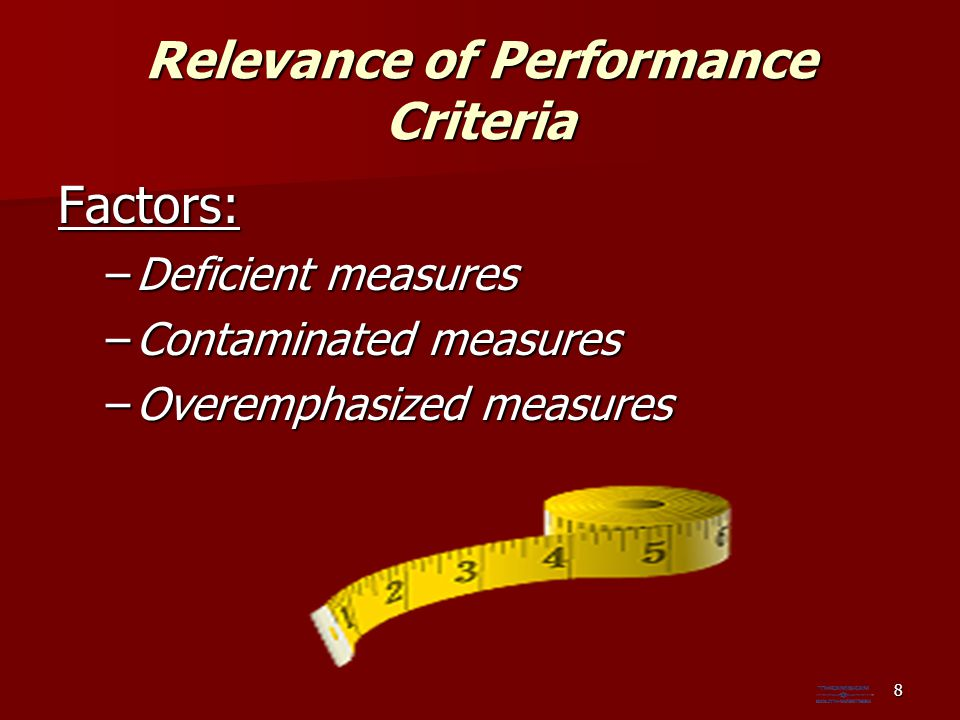 Relevance of Performance Criteria