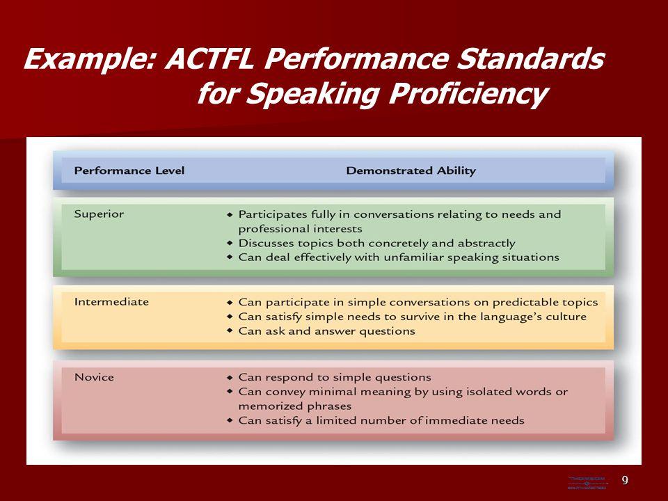 Example: ACTFL Performance Standards for Speaking Proficiency