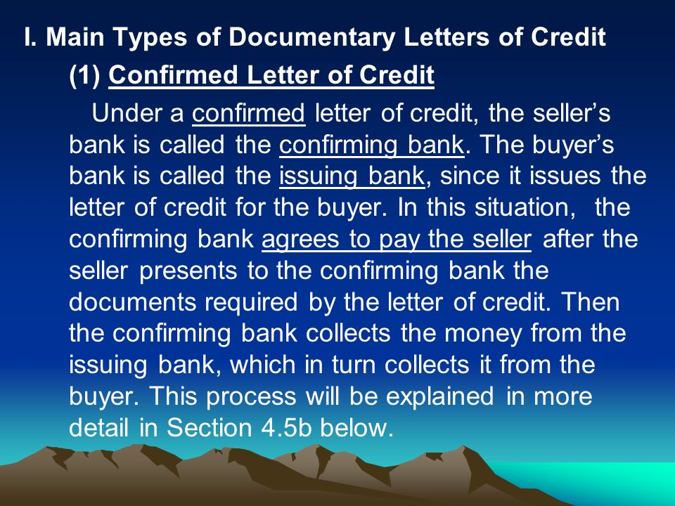 I. Main Types of Documentary Letters of Credit